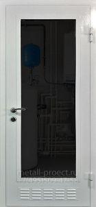 Дверь в котельную со стеклом и вентиляционной решёткой