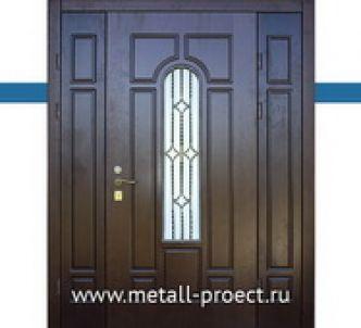 Входная дверь со стеклом с ковкой